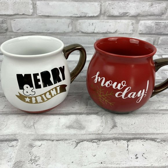 Christmas Holiday Mugs Merry & Bright Snow Day